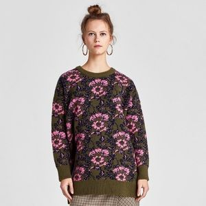 Zara Floral Jacquard Sweater green pink crew neck pullover Size m